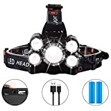 LED Stirnlampe Wiederaufladbare, Coukou LED Kopflampe, 8000LM 4 Leuchtmodi, Fokus verstellbar Wasserdicht stirnlampe Ideal zum Joggen, Angeln, Campen, , inklusive USB Kabel