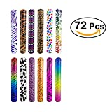 TOYMYTOY Braccialetti slap per bambini Bracciale creativi per gioco di bambini con stampa di leopardo e cuore colorati (72pcs)