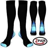 (2 pairs)Compression Socks / Stockings for Men & Women,Better Blood Circulation, Prevent Blood Clots, Boost Stamina,Circulation, Reduced Fatigue,Speed Up Recovery BEST Graduated Athletic Fit for Runni (Black & Blue L/XL (UK Women 5.5-13 / Men 7-13.5) 2 PAIR)