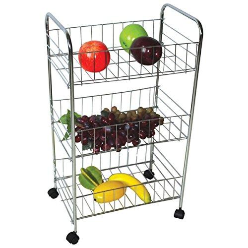 Top Home Solutions® 3Etagen chrom Küche Gemüse Obst Speisen, Rollwagen Regal Warenkorb Rack