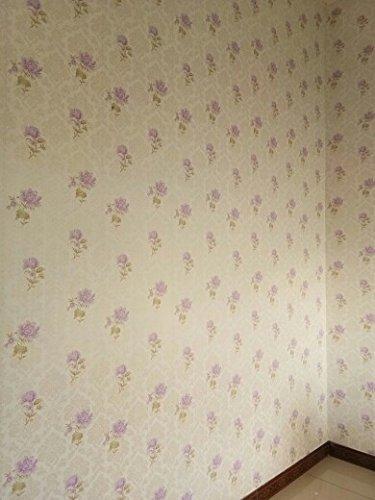 Preisvergleich Produktbild zcheng Große dekoriert mit antiken Ziegel wasserdichtem PVC-Wand Aufkleber Hintergrund selbstklebende Tapete im Europäischen Stil Schlafzimmer Bett geschmacklos,  hell-lila,  Groß
