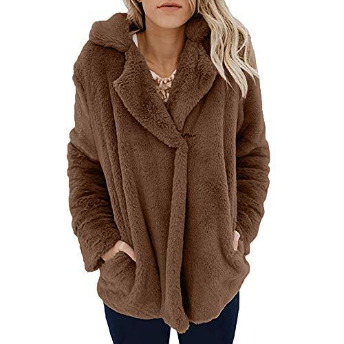 iHENGH Damen Mantel Top,Women Solide Coat Fleece Winter Warm Casual Open Front Jacke Mantel Mit Taschen Oberbekleidung Parka Outwear Tops (EU-34/CN-S,Kaffee)