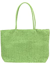 Phenovo Women New Summer Trendy Straw Beach Large Tote Shoulder Bag Handbag - Light Green