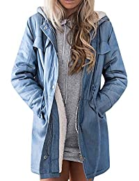 Damark Abrigos Abrigo de Invierno con Capucha para Mujer, Chaqueta de Mezclilla Abrigo De Invierno con De Lana Caliente Blusa Tops Chaqueta Sueter