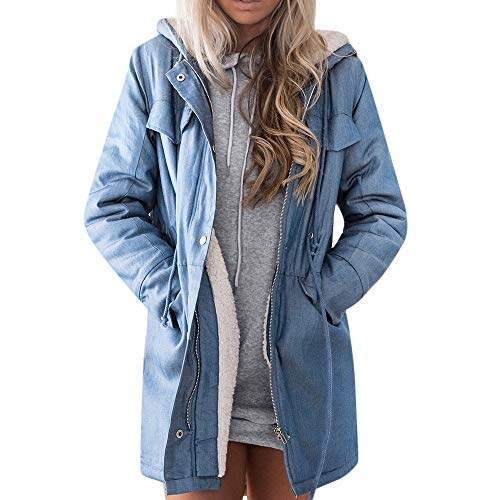 KUDICO Damen Denim Jacket Mantel Langärmeliges warm-up Faux Woll ReißVerschluss Jean Hooded Parka Outwear Overcoat Cardigan(Blau, EU-44/CN-3XL) Neon Denim Jacket