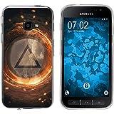 PhoneNatic Case für Samsung Galaxy Xcover 4 Silikon-Hülle Element Feuer M3 Case Galaxy Xcover 4 Tasche + 2 Schutzfolien