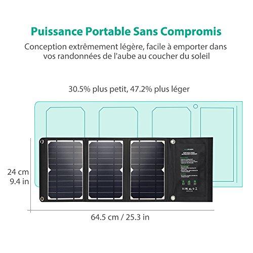 Ultra Léger Chargeur Panneau Solaire 16W / 5V 3.2A RAVPower 2 Port USB iSmart Solaire Portable Pliable Imperméable avec 2 Câble Micro-USB et 4 Crochets en Acier Inox Compatible avec iPhone, Androids etc.