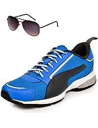 Puma Triton Blue & Black Sports Shoe With TNF Men 100% UV Sunglasses UK 10