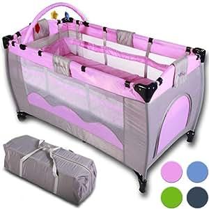Infantastic - Lit bébé de voyage - lit parapluie - Rose - avec matelas - accessoires - sac de transport sur roulettes - DIVERSES COULEURS AU CHOIX