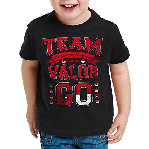 style3 Team Rot Valor Kinder T-Shirt Wagemut Feuer, Farbe:Schwarz;Größe:164 (Game Boy Pokemon Feuer Rot)