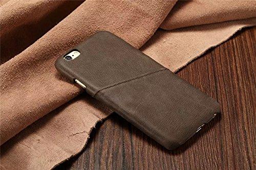 POEGO iPhone 6 / 6S Echt Leder Schutzhülle Lederhülle Handyhülle Cover Case Etui Schale (Hellbraun) Grau