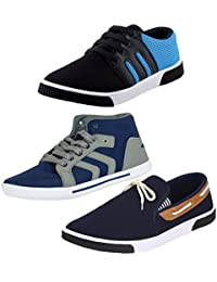 STYLIVO Combo Of 3 Men's Canvas Black_Sky Blue Sneakers, Blue_Grey Casual Shoes And Navy Blue Loafers Shoes