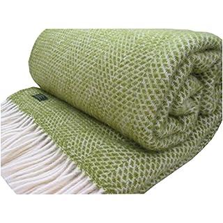 Honeycomb pure new wool throw - Apple Green