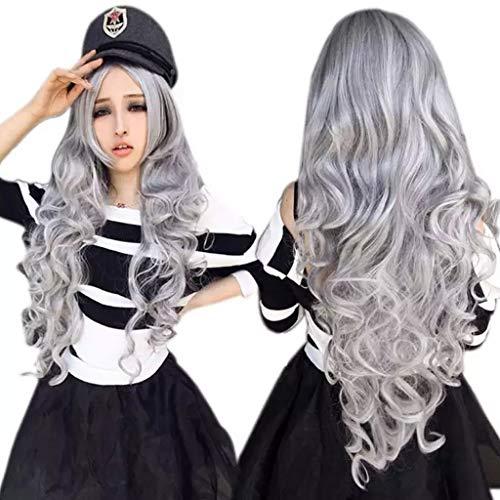 ATAYOU® Lange lockige wellenförmige graue Perücken Hitzebeständige synthetische Vollperücken für Frauen Cosplay Halloween