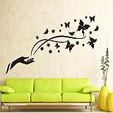 Romantische schwarze Schmetterling Orchidee Finger Wandaufkleber Wohnzimmer TV/Sofa Hintergrund Home Decor Wandbild Aufkleber 70x50 cm
