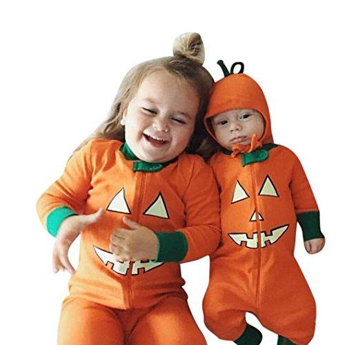 DOLDOA Los niños recién nacidos Niños Bebé Chica Víspera de Todos los Santos Ropa de manga larga Romper traje Jumpsuit (100CM, naranja)