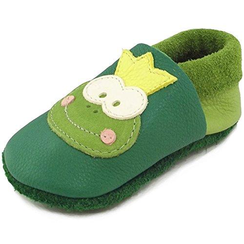 Pololo Frosch Unisex-Kinder Flache Hausschuhe grün (tabaluga pistazie)