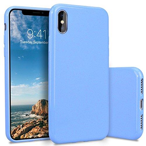 YT MARQUEEN iPhone X Hülle Glitter Silikon Ultra Dünn Bling Soft TPU Back Cover Stoßfest Anti-Kratz Handyhülle Flexible Gummi Protective Schutzhülle für iPhone X - Blau -