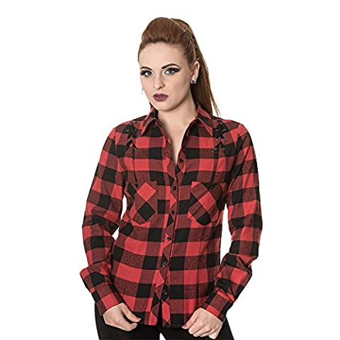 Banned ChequeRot Corset Shirt (Schwarz/Rot) - X-Large