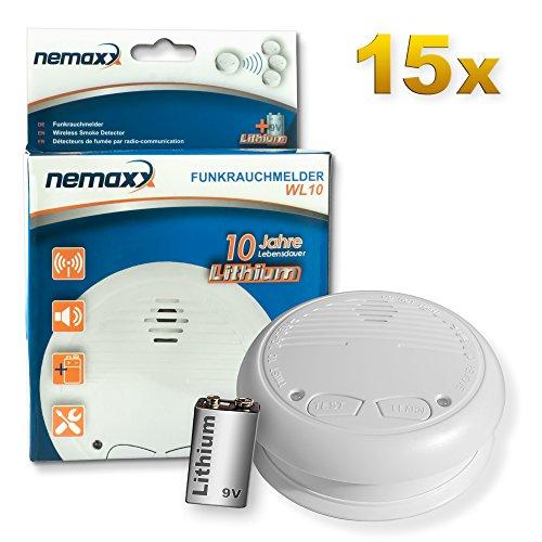 15x Nemaxx WL10 Funkrauchmelder - mit 10 Jahre Lithium Batterie Rauchmelder Feuermelder Set Funk koppelbar vernetzt - nach EN 14604