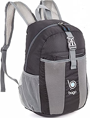 Bago Lightweight Backpack. Water Resistant Collapsible Rucksack for Travel and Sports. Foldable and Packable Daypack for Adults, Teens and Children. 25l Black