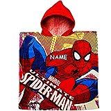 Unbekannt Badeponcho / Kapuzenhandtuch - Spider-Man - inkl. Name - 100 % Baumwolle - 60 cm * 120 cm - 2 bis 8 Jahre Poncho - mit Kapuze - Frottee / Velours - Handtuch S..