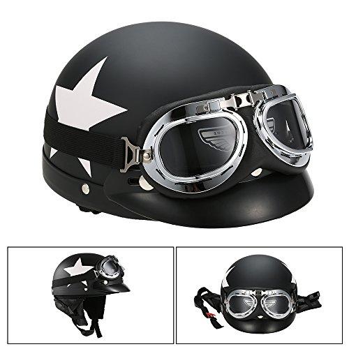 KKmoon Halb Offen Gesicht Motorradhelm mit Brille Visier Schal Biker Scooter Touring