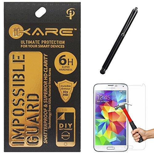 iKare Fiber Glass Screen Protector for Samsung Galaxy S5 + Touch Screen Stylus
