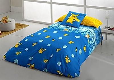 Pokemon.- Juego de Funda nordica Pikachu Evolution para cama de 90 cm (3 piezas) de Tejidos Reina