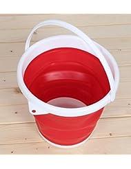 Plegable cubo de agua multifuncional para pesca Camping viaje senderismo jardinería con mango EVA, resistente al agua Debris(red) de caja de almacenamiento de información de tela plegable de silicona