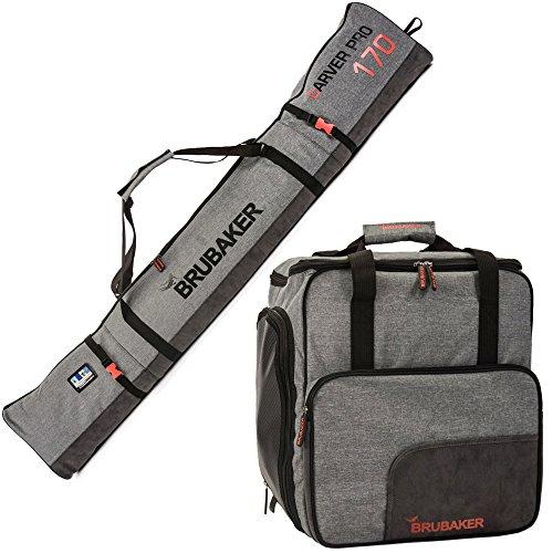 BRUBAKER Kombi Set Carver Performance - Skisack 170 cm und Skischuhtasche für 1 Paar Ski + Stöcke + Schuhe + Helm Schwarz Grau