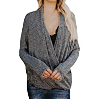 Luckycat Cruzado Suéteres Mujer Invierno Jersey de Punto Cuello en V Color Sólido Manga Larga Blusas para OtoñO Invierno Camisetas Blusa Pull-Over Top