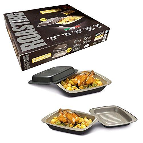 Rostiera Guardini Bistecchiera set 3 pezzi per cottura secondi e contorni, carni, arrosti, rolate, brasati, spiedini, pesce e verdure Made in Italy