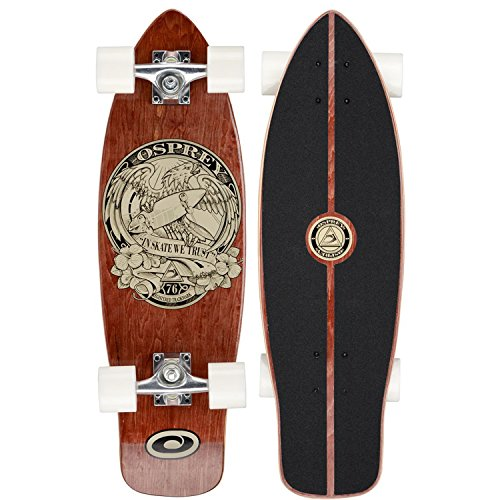 Osprey Unisex Mini Cruiser in Skate we Trust Skateboard - Brown, 27 3/4 inch