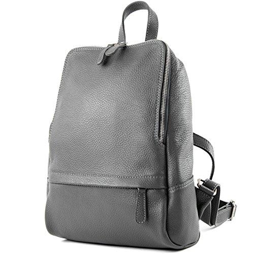 modamoda de - ital. Zaino in pelle Zaino donna Zaino Borsa Citybag in pelle T138, Colore:grigio scuro