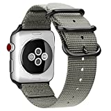 Fintie Armband für Apple Watch Series 4/3 / 2/1 - Premium Nylon atmungsaktive 44mm / 42mm Sport Uhrenarmband verstellbares Ersatzband mit Edelstahlschnallen, Grau