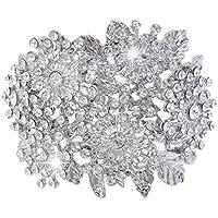 Ever Faith Fiore di cristallo braccialetto austriaco Grappolo festa nuziale Cancella silver-tone A04851-4