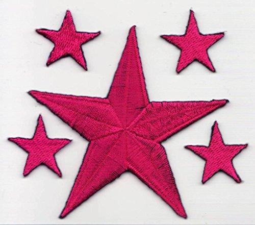 """Stern Aufnäher Aufbügler Flicken Bügelbilder Iron on Patches Applikation für Kleider Frauen Stoff Kleidung Sterne zum aufbügeln """" Pink Sterne 1 x gross 7 cm + 4 x klein a 2,2 cm"""""""