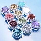 Bluelans® Nail Art glitzer Puder für Nageldesign 12 Farben