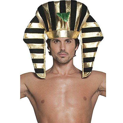 Copricapo faraone dorato color oro e nero