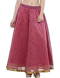 Nika Women's Chanderi Silk Hand Block Printed Long Skirt By Kaanchie Nanggia (SKT946_Pink_Freesize)