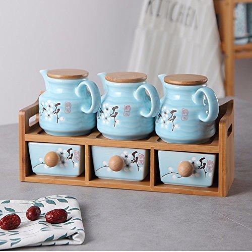 Doppelzimmer Küche Takeki Kako Seasoning Dosen sechs Stück Anzüge Gewürzkraut Flaschen Dosen Gewürze Würzen um den Sugar Bowl (Keramik) Blue Flower Pot Flower Sugar Bowl