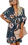 Angashion Damen Sommerkleid V-Ausschnitt Blumenkleid Kurze Ärmel Blusenkleider Lose Strand Kleider mit Gürtel 032 Blaugrau M