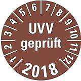 LEMAX® Prüfplakette UVV geprüft 2018,braun,Dokumentenfolie,selbstkl.,Ø30mm,18/Bogen