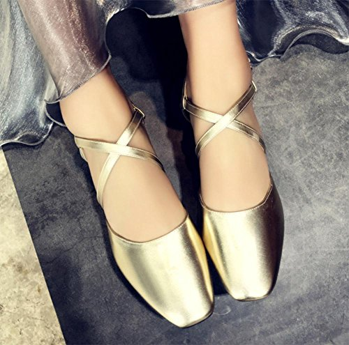 Kreuzgurte mit dicken hohlen Schnalle Schuhe Sandalen Baotou Gold