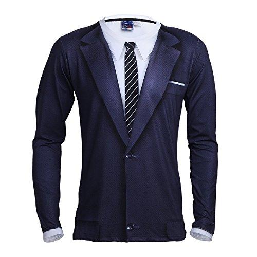Freebily Herren T-shirt Langarm mit 3D Mustern Smoking Langarmshirt S M L XL Mischfarbe XL (Für T-shirt Und Krawatten Männer)