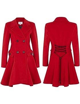De La Creme - Abrigo de Doble Botonadura Ajuste y llamarada de Lana y Cachemira de Mujer, Rojo, Tamaño 48