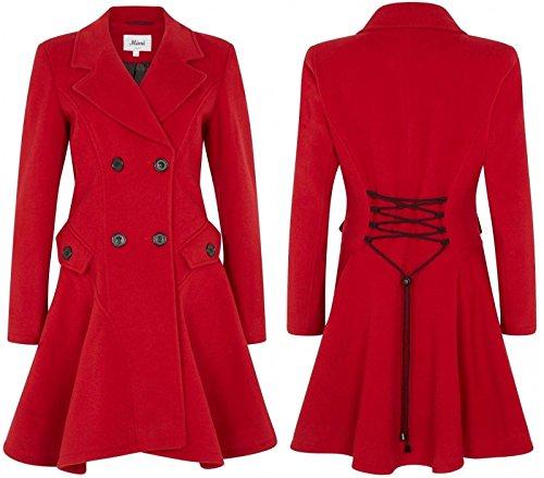 De La Creme Frauen Wolle & Cashmere Winter Zweireiher Mantel, Grau, Größe 38