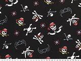 ab 1m: Kinderstoff, Baumwoll-Jersey,Totenkopf, schwarz, 150cm breit