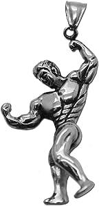 tumundo Ciondolo Pendente Peso Manubri Fitness Bodybuilding Muscolare Uomo Chiave Catena Collane Acciaio Argento Oro